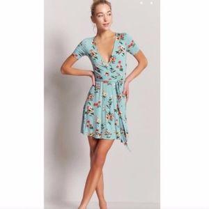 Floral Surplice Wrap Skater Dress Short